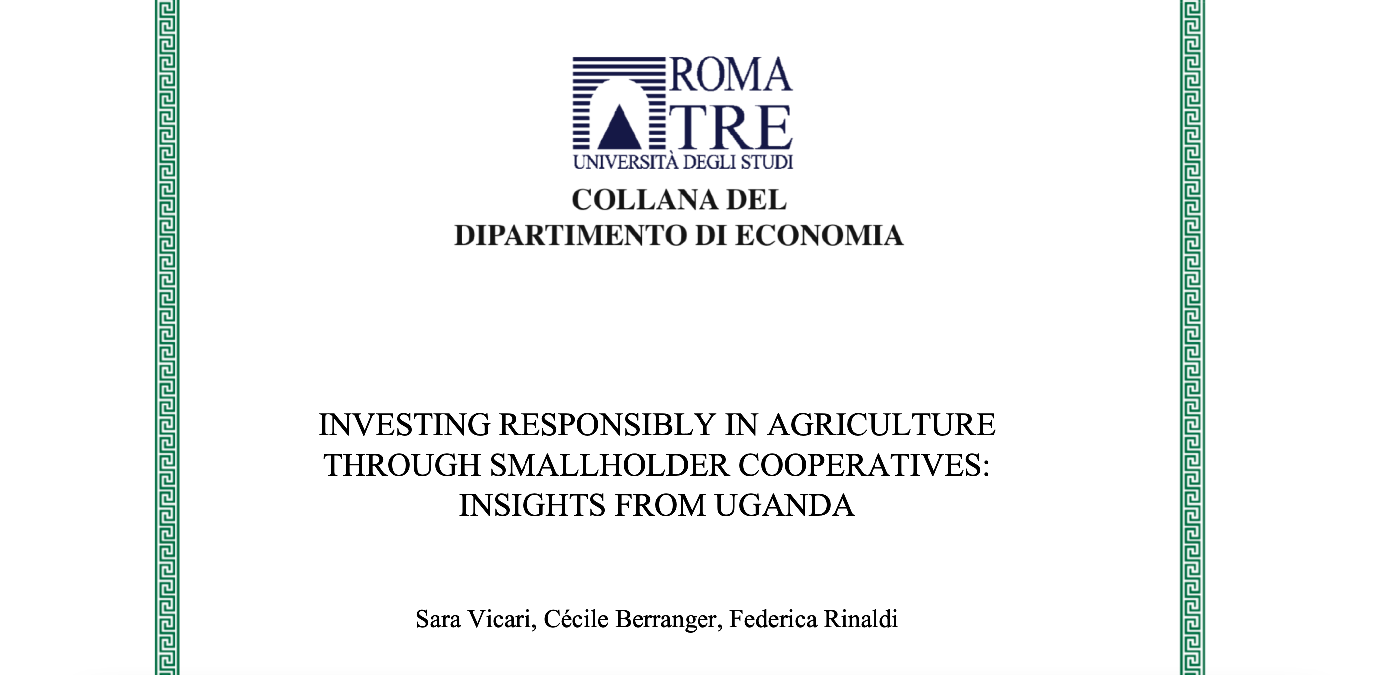 Investing responsibly in agriculture through smallholder cooperatives: insights from Uganda
