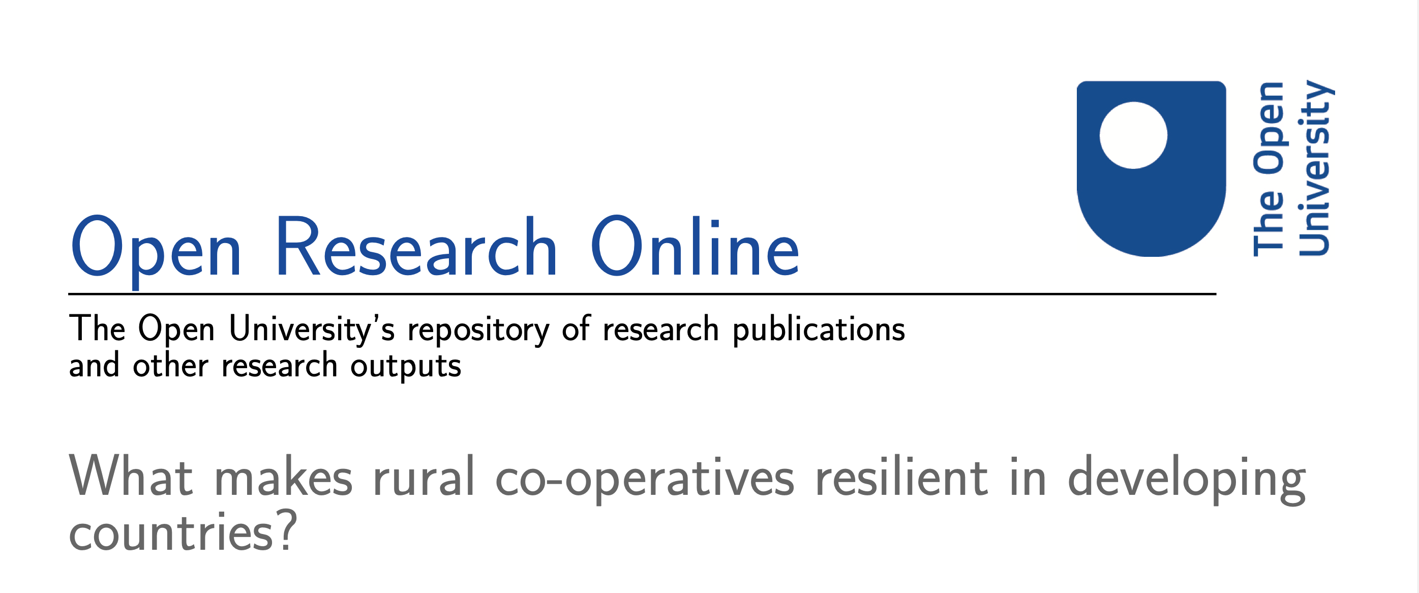 What Makes Rural Co-operatives Resilient in Developing Countries?